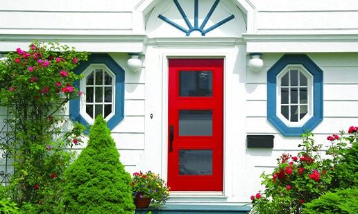 Red glass door